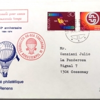 1974 10 Jahre Philatelie Club Renens Ballonstempel Sonderbeleg